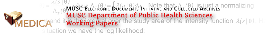 MUSC Department of Public Health Sciences Working Papers
