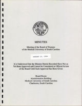 MUSC Board of Trustees minutes, August 1994